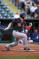 Fresno Grizzles designated hitter Alex Presley (25) at bat during a game against the Oklahoma City Dodgers on June 1, 2015 at Chickasaw Bricktown Ballpark in Oklahoma City, Oklahoma.  Fresno defeated Oklahoma City 14-1.  (Mike Janes/Four Seam Images)