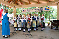 Diane Noble Directs Svenskarnas Dag Girls Choir. Svenskarnas Dag Swedish Heritage Day Minnehaha Park Minneapolis Minnesota USA