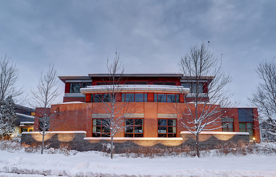 Snow covers the Jefferson Scholars Foundation at the University of Virginia. Photo/Andrew Shurtleff Photography, LLC