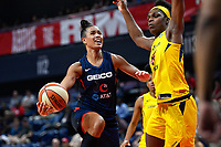 Washington, DC - Aug 8, 2019: Washington Mystics guard Natasha Cloud (9) drives to the basket against Indiana Fever center Teaira McCowan (15) during 2nd half action of game between the Indiana Fever and the Washington Mystics. The Mystics defeat the Fever 91-78 at the Entertainment & Sports Arena in Washington, DC. (Photo by Phil Peters/Media Images International)