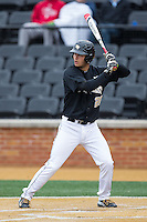 Justin Yurchak (20) of the Wake Forest Demon Deacons at bat against the Appalachian State Mountaineers at Wake Forest Baseball Park on February 13, 2015 in Winston-Salem, North Carolina.  The Mountaineers defeated the Demon Deacons 10-1.  (Brian Westerholt/Four Seam Images)
