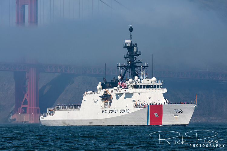 The United States Coast Guard Cutter Bertholf (WMSL 750) on San Francisco Bay. The Bertholf is homeported in Alameda, California. It was launched on September 29, 2006 at the Ingalls Shipyard in Pascagoula, Mississippi and was christened on November 11, 2006. It is the first of the Legend class maritime security cutters to enter the Coast Guard fleet.