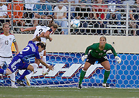 Christie Rampone heads the ball out of danger as Hope Solo looks on. USA defeated Japan 4-1 at Spartan Stadium in San Jose, CA on July 28, 2007.