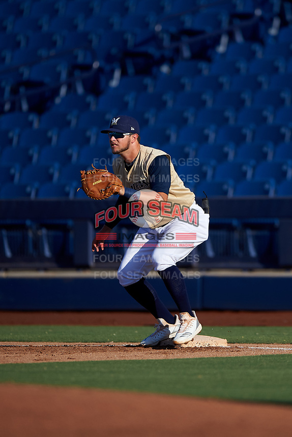 AZL Brewers Gold first baseman Ashton McGee (9) during an Arizona League game against the AZL Brewers Blue on July 13, 2019 at American Family Fields of Phoenix in Phoenix, Arizona. The AZL Brewers Blue defeated the AZL Brewers Gold 6-0. (Zachary Lucy/Four Seam Images)