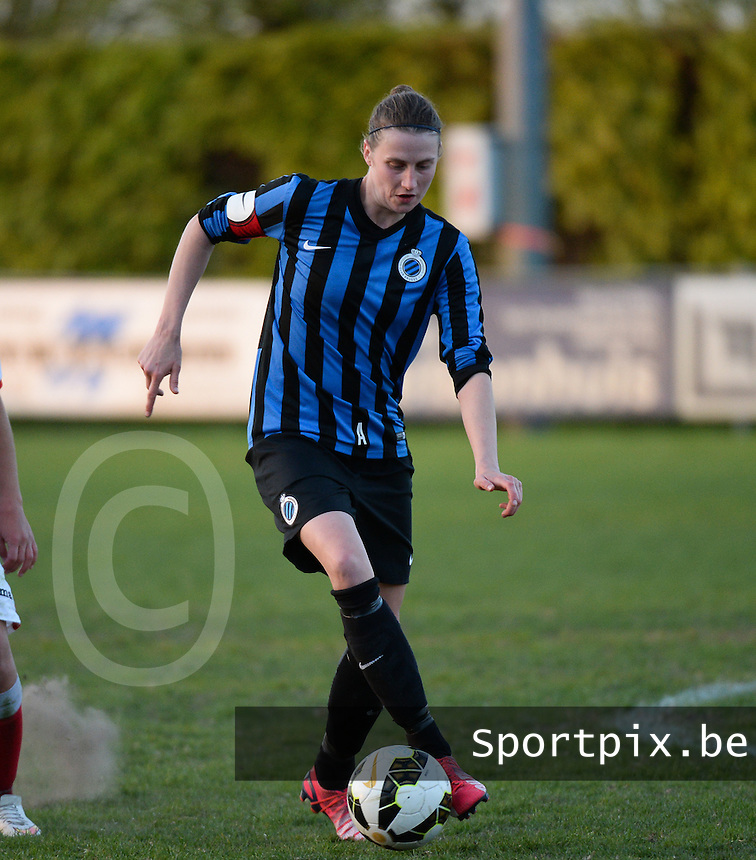 20150428 - VARSENARE , BELGIUM : Brugge's Heleen Jaques pictured during the soccer match between the women teams of Club Brugge Vrouwen and Standard de Liege Femina , on the 24th matchday of the BeNeleague competition Tuesday 28 th April 2015 in Varsenare . PHOTO DAVID CATRY