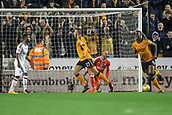 3rd November 2017, Molineux, Wolverhampton, England; EFL Championship football, Wolverhampton Wanderers versus Fulham; Romain Saïss of Wolverhampton Wanderers celebrate the first goal in the 10th minute