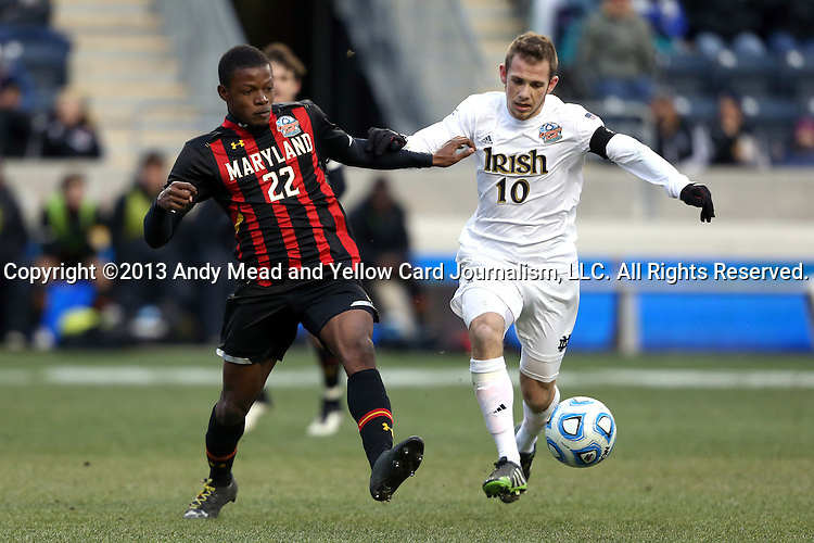 15 December 2013: Maryland's Suli Dainkeh (22) and Notre Dame's Harrison Shipp (10). The University of Maryland Terripans played the University of Notre Dame Fighting Irish at PPL Park in Chester, Pennsylvania in a 2013 NCAA Division I Men's College Cup championship match. Notre Dame won the game 2-1.
