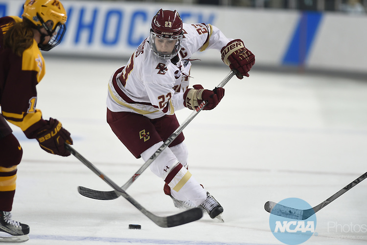 20 MAR 16:  Andie Anastos of Boston College skates toward the Minnesota zone during the Division I Women's Ice Hockey Championship held at Whittemore Center Arena in Durham, NH. Minnesota defeated Boston College 3-1 for the national title.  Gil Talbot/NCAA Photos