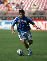 FC Dallas forward Carlos Ruiz (20) warms up prior to playing the Houston Dynamo in an MLS regular season match at Robertson Stadium in Houston, TX on August 19, 2007.