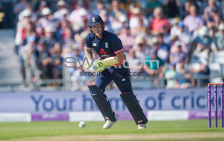 Picture by Allan McKenzie/SWpix.com - 24/05/2017 - Cricket - Royal London One-Day International - England v South Africa - Headingley Cricket Ground, Leeds, England - England's Ben Stokes plays the ball against South Africa.