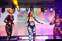 LONDON, ENGLAND - JUNE 3: Denise Post-Van Rijswijk, Kim Sasabone and Donny Latupeirissa of 'Vengaboys' performing at Mighty Hoopla at Brockwell Park, Brixton on June 3, 2018 in London<br /> CAP/MAR<br /> &copy;MAR/Capital Pictures