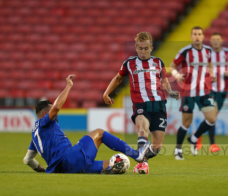 Louis Reed of Sheffield Utd tackles Marcin Wailewski of Leicester City U23 during the Checkatrade Trophy match at Bramall Lane Stadium, Sheffield. Picture date: August 30th, 2016. Pic Simon Bellis/Sportimage