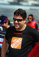 Apr 26, 2008; Talladega, AL, USA; NASCAR Sprint Cup Series driver Tony Stewart during qualifying for the Aarons 499 at Talladega Superspeedway. Mandatory Credit: Mark J. Rebilas-US PRESSWIRE