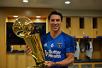 San Jose, CA - Monday July 10, 2017: Shea Salinas, NBA Trophy prior to a U.S. Open Cup quarterfinal match between the San Jose Earthquakes and the Los Angeles Galaxy at Avaya Stadium.