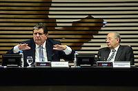 SAO PAULO, 25 DE MAIO DE 2012 - ALAN GARCIA NA FIESP - O ex-presidente do Peru, Alan Garcia (E) e o embaixador Presidente do Conselho Superior de Comércio Exterior (Coscex) da Fiesp, Rubens Barbosa, em seminário Comércio e Investimentos Brasil-Peru, na manha desta sexta-feira , na Federação das Indústrias do Estado de São Paulo (Fiesp). FOTO:ALEXANDRE MOREIRA - BRAZIL PHOTO PRESS