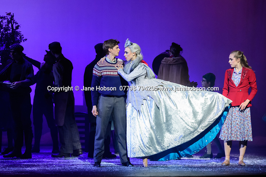 Scottish Ballet presents the world premiere of The Snow Queen, at the Festival Theatre. The work is choreographed by Christopher Hampson, to the music of Rimsky-Korsakov, with set and costume design by Lez Brotherston, and lighting design by Paul Pyant.  The cast is: Constance Devernay (Snow Queen), Bethany Kingsley-Garner (Gerda), Andrew Peasgood (Kai), Kayla-Maree Tarantolo (Lexi). The picture shows: Andrew Peasgood (Kai), Constance Devernay (Snow Queen), Bethany Kingsley-Garner (Gerda).