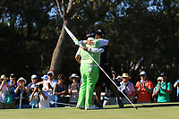 Kiradech Aphibarnrat (THA) sinks his putt on the 5th to win the ISPS Handa World Super 6 Perth at Lake Karrinyup Country Club on the Sunday 11th February 2018.<br /> Picture:  Thos Caffrey / www.golffile.ie<br /> <br /> All photo usage must carry mandatory copyright credit (&copy; Golffile | Thos Caffrey)