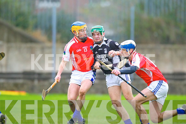 Rory Horgan Saint Brendans in Action against David Hickey and Stephen Stritch Ballina in the Munster Intermediate Club Semi-Final at Nenagh on Sunday.