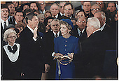 United States President Ronald Reagan was sworn in for a second term as President of the United States in the Capitol Rotunda on January 21, 1985.  The oath was administered by Chief Justice Warren Berger.  First Lady Nancy Reagan holds the family Bible.  Reagan was sworn-in in the Rotunda of the U.S. Capitol due to the extreme cold weather outside that cancelled both the Inauguration ceremony at The Capitol and the Inaugural Parade down Pennsylvania Avenue.<br /> Credit: White House via CNP