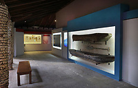 Display of an indigenous canoe in the Museo Arqueologico Regional Altos de Chavon, in Altos de Chavon, a recreated European village built 1976-82 in La Romana, Dominican Republic, in the Caribbean. The museum was opened in 1981 and is part of the Altos de Chavon Cultural Center Foundation, housing a collection of indigenous objects donated by Samuel Pion. Picture by Manuel Cohen