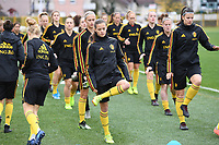 20191107 - Zapresic , BELGIUM : Belgian Shari Van Belle and Laura De Neve (r) pictured during a Matchday -1 training session before a  female soccer game between the womensoccer teams of  Croatia and the Belgian Red Flames , the third women football game for Belgium in the qualification for the European Championship round in group H for England 2021, Thursday 7 th october 2019 at the NK Inter Zapresic stadium near Zagreb , Croatia .  PHOTO SPORTPIX.BE | DAVID CATRY