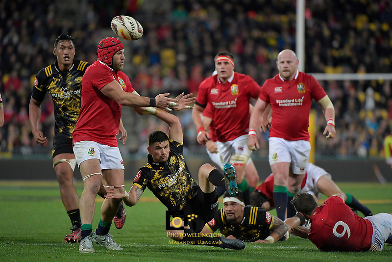 Hurricanes&rsquo; Otere Black in action during the New Zealand Lions Series - Hurricanes v British and Irish Lions at Westpac Stadium, Wellington, New Zealand on Tuesday 27 June 2017.<br /> Photo by Masanori Udagawa<br /> www.photowellington.photoshelter.com.