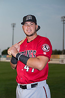 Billings Mustangs catcher Pabel Manzanero (47) poses for a photo prior to a Pioneer League game against the Idaho Falls Chukars at Melaleuca Field on August 22, 2018 in Idaho Falls, Idaho. The Idaho Falls Chukars defeated the Billings Mustangs by a score of 5-3. (Zachary Lucy/Four Seam Images)