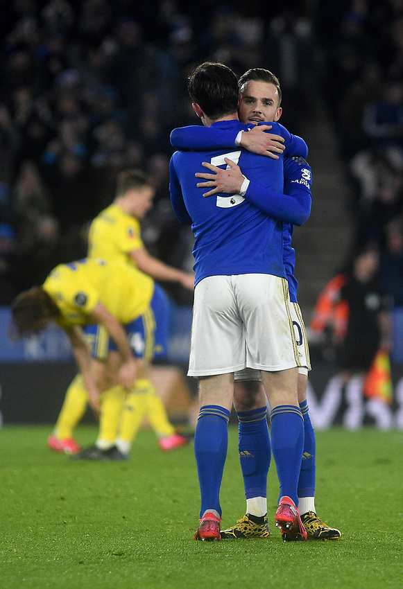 Leicester City's James Maddison and Ben Chilwell celebrate their team mate Ricardo Pereira's goal<br /> <br /> Photographer Hannah Fountain/CameraSport<br /> <br /> The Emirates FA Cup Fifth Round - Leicester City v Birmingham City - Wednesday 4th March 2020 - King Power Stadium - Leicester<br />  <br /> World Copyright © 2020 CameraSport. All rights reserved. 43 Linden Ave. Countesthorpe. Leicester. England. LE8 5PG - Tel: +44 (0) 116 277 4147 - admin@camerasport.com - www.camerasport.com