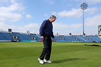 Umpire Richard Illingworth checks the state of the outfield during Yorkshire CCC vs Essex CCC, Specsavers County Championship Division 1 Cricket at Emerald Headingley Cricket Ground on 14th April 2018