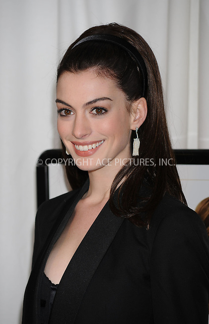 WWW.ACEPIXS.COM . . . . . ....January 5 2009, New York City....Actress Anne Hathaway arriving at the premiere of 'Bride Wars' at the AMC Loews Lincoln Square on January 5 2009 in New York City....Please byline: KRISTIN CALLAHAN - ACEPIXS.COM.. . . . . . ..Ace Pictures, Inc:  ..tel: (212) 243 8787 or (646) 769 0430..e-mail: info@acepixs.com..web: http://www.acepixs.com