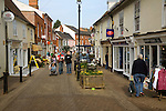 Pedestrianised main shopping street, Halesworth, Suffolk, England
