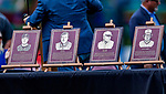 22 July 2018: Plaques of four new Members of the Syracuse Baseball Wall of Fame are displayed on the field prior to a game between the Louisville Bats and the Syracuse SkyChiefs at NBT Bank Stadium in Syracuse, NY. The Bats defeated the Chiefs 3-1 in AAA International League play. Mandatory Credit: Ed Wolfstein Photo *** RAW (NEF) Image File Available ***