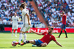 Real Madrid's player Luka Modric and Osasuna player Roberto Torres during a match of La Liga Santander at Santiago Bernabeu Stadium in Madrid. September 10, Spain. 2016. (ALTERPHOTOS/BorjaB.Hojas)