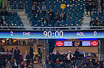 Solna 2015-10-12 Fotboll EM-kval , Sverige - Moldavien :  <br /> Resultattavlan p&aring; Friends Arena visar slutresultatet 2-0 efter matchen mellan Sverige och Moldavien <br /> (Photo: Kenta J&ouml;nsson) Keywords:  Sweden Sverige Solna Stockholm Friends Arena EM Kval EM-kval UEFA Euro European 2016 Qualifying Group Grupp G Moldavien Moldova inomhus interi&ouml;r interior