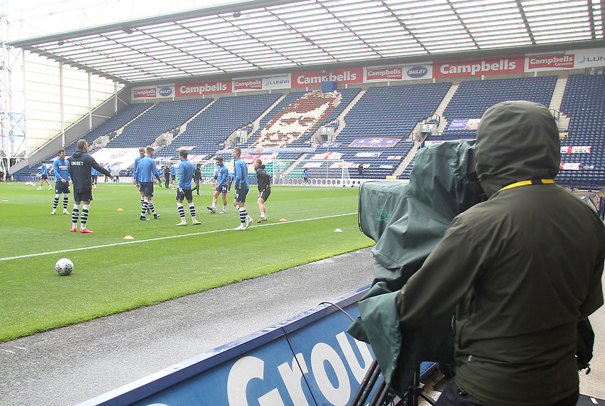 Preston North End's players warm up in front of empty stands<br /> <br /> Photographer Mick Walker/CameraSport<br /> <br /> The EFL Sky Bet Championship - Preston North End v Cardiff  City - Saturday 27th June 2020 - Deepdale Stadium - Preston<br /> <br /> World Copyright © 2020 CameraSport. All rights reserved. 43 Linden Ave. Countesthorpe. Leicester. England. LE8 5PG - Tel: +44 (0) 116 277 4147 - admin@camerasport.com - www.camerasport.com