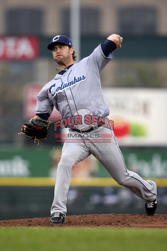 Columbus Clippers starting pitcher David Huff #2 delivers a pitch during the first game of a double header against the Empire State Yankees at Frontier Field on May 8, 2012 in Rochester, New York.  Columbus defeated Empire State 1-0.  (Mike Janes/Four Seam Images)