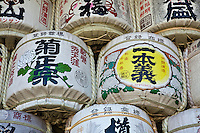 Sake Barrels at Matsunoo Grand Shrine also known as Matsuo Grand Shrine is located at the west end of Kyoto   beyond Matsuo Bridge. This shrine is the oldest shrine in Kyoto, and the divinity worshipped here is the god of brewing sake. Throughout the year, more than a thousand people who are engaged in brewing sake visit Matsunoo Grand Shrine to pay their respects and donate giant casks of sake to the shrine.  Matsuo Shrine is also famous for its modern Japanese gardens.