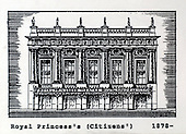 The Royal Princess's Theatre, Glasgow, (the Citizens') a copy of one of the images gifted by actor Tony Roper to the Britannia Panoptican in Glasgow, after he presented the long-lost variety music hall with some ink drawings of old Glasgow theatres. The framed collection was given to Roper by the family of Ricki Fulton - picture by Donald MacLeod 05.03.09