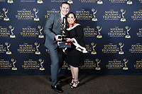PASADENA - May 5: Alan Tacher and Maria Garcia-Marquez in the press room at the 46th Daytime Emmy Awards Gala at the Pasadena Civic Center on May 5, 2019 in Pasadena, California