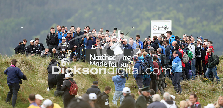 27 May 2015; Rory McIlroy tess off at the 2nd<br /> <br /> Dubai Duty Free Irish Open Golf Championship 2015, Pro-Am. Royal County Down Golf Club, Co. Down. Picture credit: John Dickson / DICKSONDIGITAL