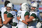 October 22, 2016 - Colorado Springs, Colorado, U.S. -   Hawaii Rainbow Warriors celebrate their double overtime victory following the NCAA Football game between the University of Hawaii Rainbow Warriors and the Air Force Academy Falcons, Falcon Stadium, U.S. Air Force Academy, Colorado Springs, Colorado.  Hawaii defeats Air Force in double overtime 43-27.