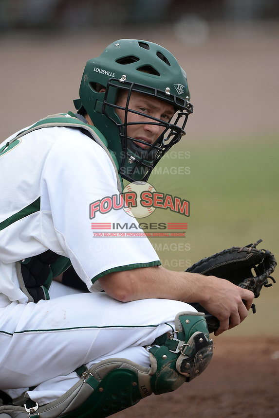 South Florida Bulls catcher Levi Borders (12) during a game against the Florida State Seminoles on March 5, 2014 at Red McEwen Field in Tampa, Florida.  Florida State defeated South Florida 4-1.  (Mike Janes/Four Seam Images)