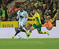 Blackburn Rovers' Amari'i Bell (left) battles with Norwich City's Emi Buendia (right) <br /> <br /> Photographer David Horton/CameraSport<br /> <br /> The EFL Sky Bet Championship - Norwich City v Blackburn Rovers - Saturday 27th April 2019 - Carrow Road - Norwich<br /> <br /> World Copyright © 2019 CameraSport. All rights reserved. 43 Linden Ave. Countesthorpe. Leicester. England. LE8 5PG - Tel: +44 (0) 116 277 4147 - admin@camerasport.com - www.camerasport.com