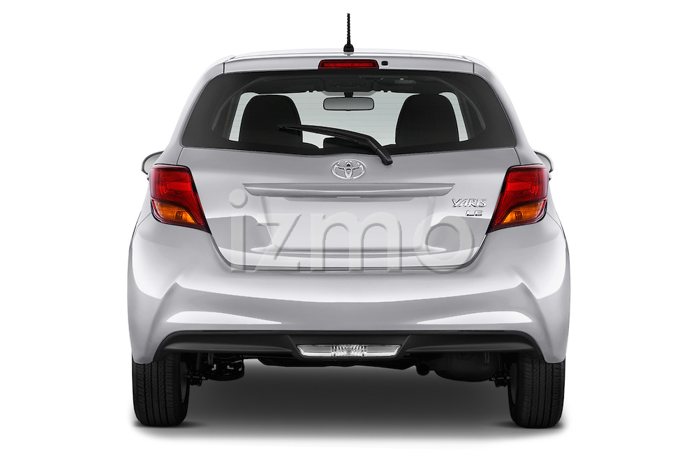 Straight rear view of a 2015 Toyota Yaris LE 3-Door Liftback AT 3 Door Hatchback Rear View  stock images