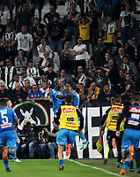 Calcio, Serie A: Juventus - Napoli, Torino, Allianz Stadium, 22 aprile, 2018.<br /> Napoli's Kalidou Koulibaly celebrates after scoring with his teammates during the Italian Serie A football match between Juventus and Napoli at Torino's Allianz stadium, April 22, 2018.<br /> UPDATE IMAGES PRESS/Isabella Bonotto