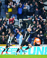 30th November 2019; St James Park, Newcastle, Tyne and Wear, England; English Premier League Football, Newcastle United versus Manchester City; Jonjo Shelvey of Newcastle United runs to celebrate equalising in the 88th minute to make it 2-2 with Christian Atsu of Newcastle United running to join him - Strictly Editorial Use Only. No use with unauthorized audio, video, data, fixture lists, club/league logos or 'live' services. Online in-match use limited to 120 images, no video emulation. No use in betting, games or single club/league/player publications