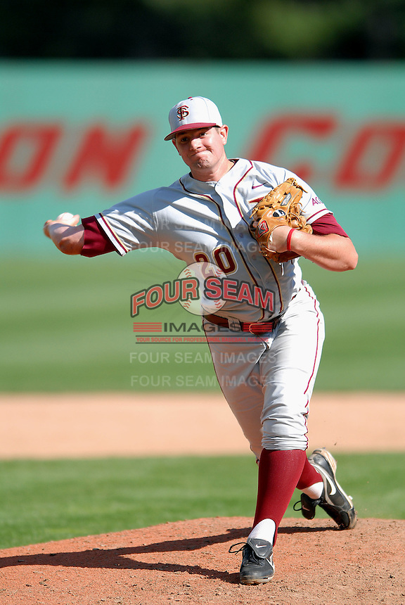 RHP Daniel Bennett of the FSU Seminoles vs Boston College at Shea Field April 7, 2010 in Chestnut Hill, MA (Photo by Ken Babbitt/Four Seam Images)