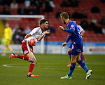 Chris Basham of Sheffield Utd gets in the way of a clearance by Joseph Mills of Oldham Athletic] - FA Cup Second round - Sheffield Utd vs Oldham Athletic - Bramall Lane Stadium - Sheffield - England - 5th December 2015 - Picture Simon Bellis/Sportimage