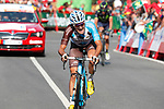 Alexis Gougeard (FRA) AG2R La Mondiale approaches the finish line of Stage 18 of the 2017 La Vuelta, running 169km from Suances to Santo Toribio de Li&eacute;bana, Spain. 7th September 2017.<br /> Picture: Unipublic/&copy;photogomezsport | Cyclefile<br /> <br /> <br /> All photos usage must carry mandatory copyright credit (&copy; Cyclefile | Unipublic/&copy;photogomezsport)