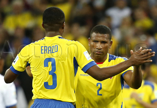 20.06.2014. Curitiba, Brazil.  Jorge Guagua (R) of Ecuador celebraes with his teammate Frickson Erazo after winning a Group E match between Honduras and Ecuador of 2014 FIFA World Cup at the Arena da Baixada Stadium in Curitiba, Brazil, June 20, 2014. Ecuador beat Honduras 2-1. (Xinhua/Liao Yujie)(zc) (SP)BRAZIL-CURITIBA-WORLD CUP 2014-GROUP E-HONDURAS VS ECUADOR